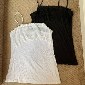 PAIR!! Lace Bust White and Black Tank Tops